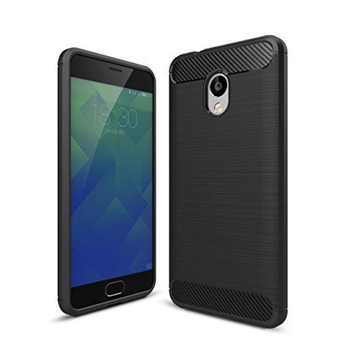 WolinTek Custodia Meizu M5S, TPU Gel Cover, Ultra Slim Skin Protettiva in Silicone Case per Meizu M5S, Nero