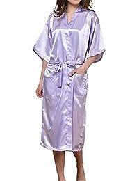 Mujer Vestido Kimono Satén Largo Camisón para Mujer Lujoso Robe Albornoz Dama de Honor Ropa de