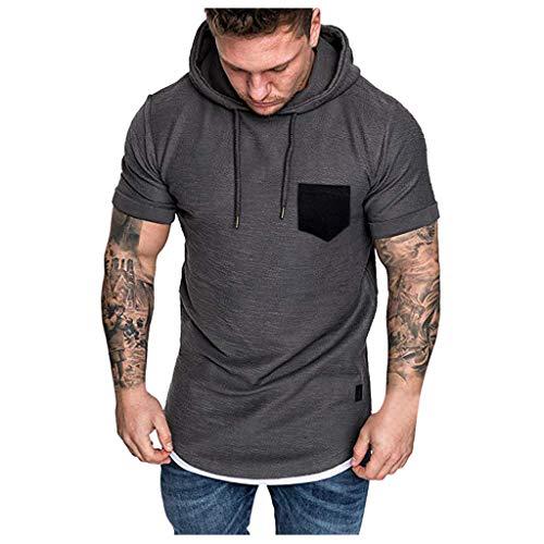 BOLANQ Kurzarm Hemden Herren, Art und Weisemänner nehmen passendes beiläufiges Muster-große Kurze Hülsen-Hoodie-Oberseiten-Bluse ab(XX-Large,Grau) -
