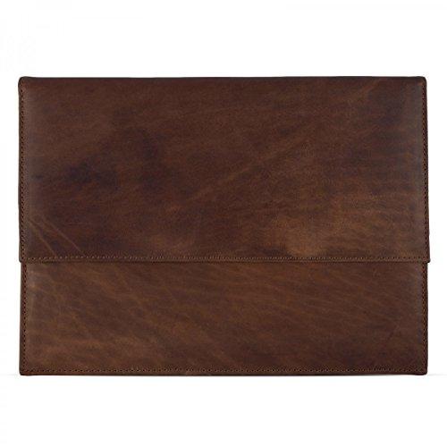 ROYALZ Ledertasche für Apple MacBook Pro 13 2016 / 2017 Tasche (13,3 Zoll) Leder Schutz Hülle Cover Schutztasche Sleeve Zubehör, Farbe:Cognac Braun
