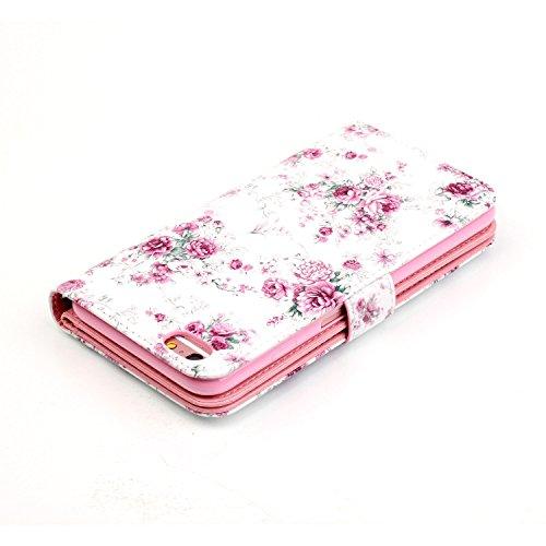 iPhone 6 Plus Hülle,iPhone 6S Plus Ledertasche - Felfy luxury Book Style PU Leder Brieftasche Flip Cover in Lederoptik mit Standfunktion Karteneinschub und Magnetverschluß Farbe Retro-Muster Schmetter Rose