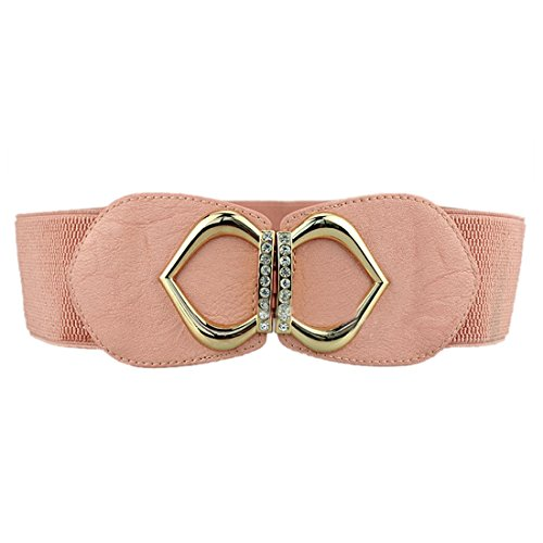 QIYUN.Z Mode Feminine Cristal Constellee Robe elastique Large Ceinture Cinch Attend Ceinture rose de la peau