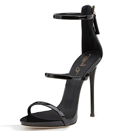 22121651e3bd Amy Q Women Extreme High Heels Black Covered Heel Patent Sandal with Three  Straps