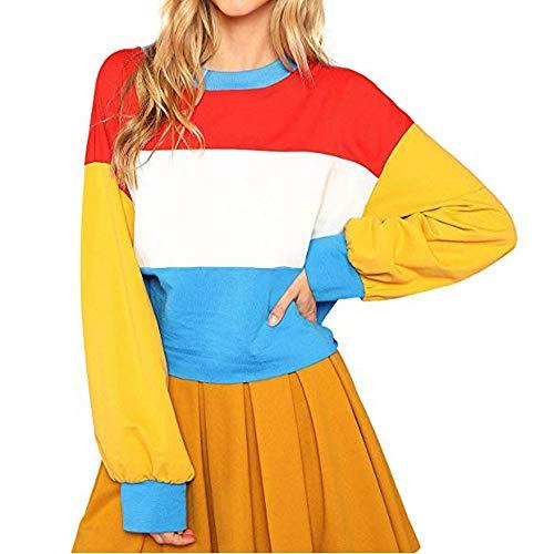 (MIRRAY Damen Übergroßes Sweatshirt Color Block Gestreiftes Langarm Crop Top Pullover)