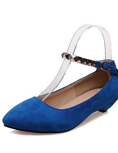 WSS 2016 Chaussures Femme-Bureau & Travail / Habillé / Décontracté-Noir / Bleu / Violet-Talon Bas-Bout Pointu / Bride de Cheville-Talons-Similicuir black-us8 / eu39 / uk6 / cn39