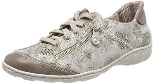 Rieker Damen M3711 Sneaker, Weiß (Steel/Grau), 36 EU