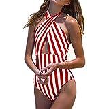 Dicomi Costume da Bagno Donna Intero Sexy Striscia Bikini Costumi Interi Beachwear dello Swimwear Spingere Verso l'Alto Spiaggia Mare e Piscina Push up Swimsuit in Tinta Unita per Le Ragazze