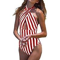 c23d0b4401 Dicomi Costume da Bagno Donna Intero Sexy Striscia Bikini Costumi Interi  Beachwear dello Swimwear Spingere Verso l'Alto Spiaggia Mare e Piscina Push  up ...