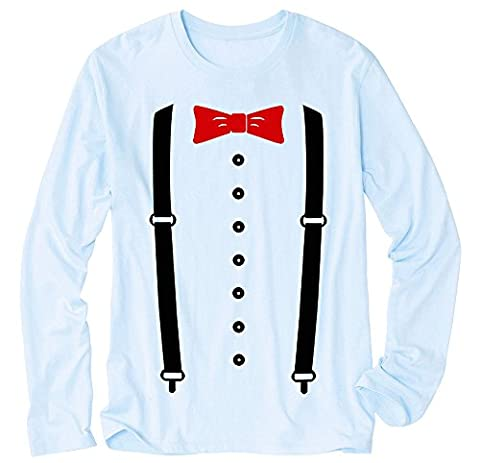 T-Shirt à manches longues - Red Bow and Suspender Blue Large