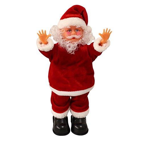 Babbo natale che canta e balla e fa la verticale 31cm - decorazione natalizia modellino musicale di santa claus che si muove natale santa claus - babbo natale che canta e balla della ditta [lux.pro]