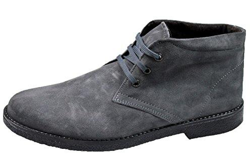 Scarpe polacchine uomo Made in Italy grigio pelle camoscio casual man's shoes (41)