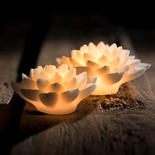 Pajoma LED de luz nenúfar, cera/plástico, altura 7,5cm 20486