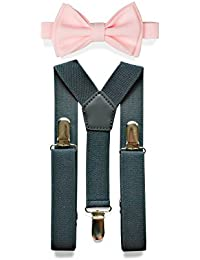 000a55208acf Charcoal Grey Suspenders & Bow Tie Set for Baby Toddler Boy Teen Men (3.