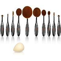 JstBest 10 Pezzi-Set di Pennelli Makeup Brush Set, Curvabile Pennelli Ovali Spazzole da Denti Professionale per Trucco con Design Ovalizzato Spazzolini Cosmetici