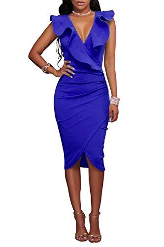 YMING Damen Midi Kleid Rüsche Kleid Tief V-Ausschnitt Partykleid Bodycon Stretchkleid,Blau,XL/DE...