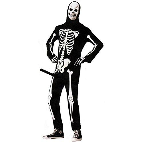 shoperama - Costume da scheletro, modello da uomo, divertente, con pompa, taglia M/L