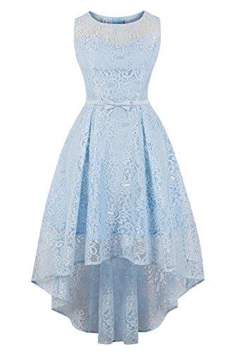 Axoe Damen Cocktailkleid Elegant für Hochzeit Spitzenkleid Hellblau Gr.36