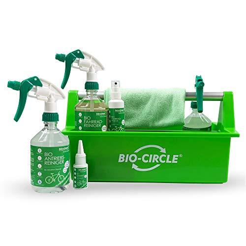 Bio-Chem Premium Fahrradpflege-Set 7-teilig Fahrradreiniger Antriebsreiniger Antriebsentfetter Antriebsöl Fahrradpflege mit Mikrofasertuch und Werkzeugbox 1,63 L -