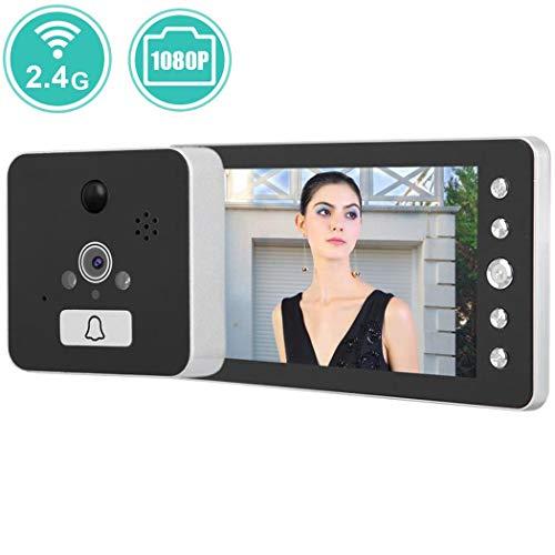 WIFI Video Türsprechanlage Türklingel Gegensprechanlage System, 5 Zoll WLAN Monitor mit IP65 Wasserdicht 1080P Kamera im Freien, Nachtsicht, PIR-Bewegungserkennung, APP-Steuerung für iOS Android (Garage Türöffner-alarm)