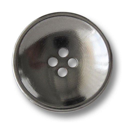 Knopfparadies - 6er Set stark nach innen gewölbte chromfarbene Vierloch Metallknöpfe in Schüssel Form/Leicht glänzend Chromfarben/Metall Knöpfe/Ø ca. 25mm