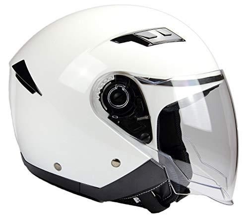 BNO Jethelm mit Langvisier Jet200 Motorradhelm Roller Helm Schutzhelm Weiss (XS-XXL) (S)
