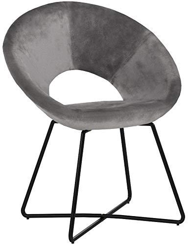 Duhome Esszimmerstuhl Stoffbezug (Samt) Grau Konferenzstuhl Besucherstuhl herausragendes Design Gestell aus Metall Farbauswahl 439D