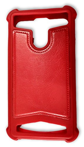 BKDT Marketing Rubber and Leather Soft Back Cover for Panasonic T31 with Dislay Window and Stand - Red  available at amazon for Rs.449
