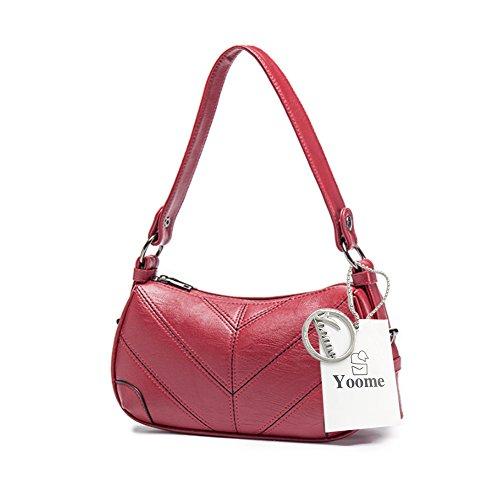 Sacchetti di spalla trasparenti eleganti con tracolla eleganti con zeppa retrò a puro stile Yoome Tote in pelle morbida - rosa Rosso