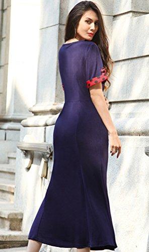 NiSeng Dame Elegante Puppe Kragen Mit Hoher Taille BleistiftKleid Fishtail Business Kleid Saphir