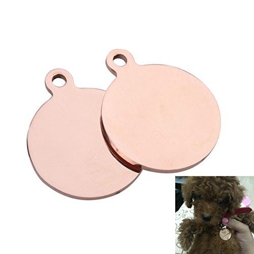 ags, 25mm leer DIY Erkennungsmarken Katze Tags für Hund Katze Welpen Kitty Identifikation (Rose Gold) ()
