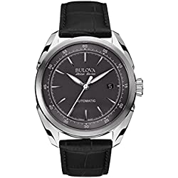 Bulova Accu Swiss Tellaro Men's Automatic Watch with Grey Dial Analogue Display and Black Leather Strap 63B188