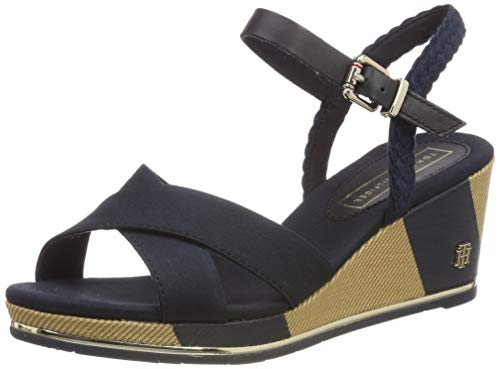 Tommy Hilfiger Printed Mid Wedge Sandal, Plateau Donna, Blu (Midnight 403), 37 EU