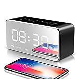 Tlgf Tragbare Bluetooth-Lautsprecher, Wecker FM Radio Stereo-Lautsprecher, Spiegel-Design Patentierten Bass-Port Und Eingebaute MIC,Black