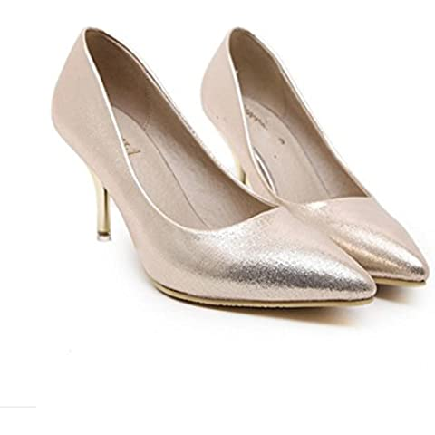 YMXJB Zapatos tacones puntiagudos zapatos de boda Rhinestone/zapatos de discoteca , gold , 38