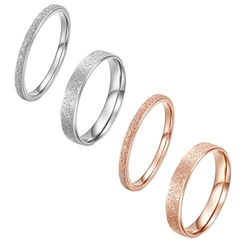 ALEXTINA Damen 4 Pieces Edelstahl Rose Gold Silber Überzogen Eheringe Stapeln Ringe Einstellen Größe 46