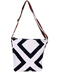 IndiWeaves Women Vintage Handmade Kilim Leather Handle Cross Body Sling Bag - B07658RL2J