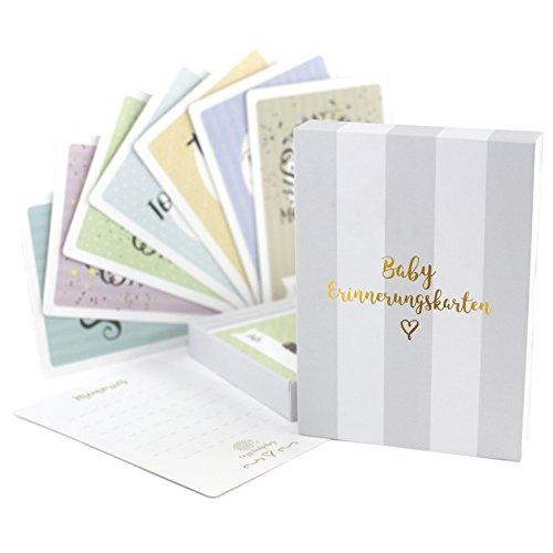 40 Meilenstein karten - DEUTSCH - Geschenkidee zur Geburt, Schwangerschaft oder Babyparty - Für Mädchen und Jungen - Meilensteinkarten - Geschenkset