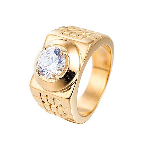 Aiznoy uomo acciaio inossidabile anello fede singola quadrata in zircone oro punk anello