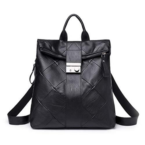 Yoome Washed Leather Fashion Purse Donna Casual Zaino con cerniera lampo Hangbag Borsa Shlouder nera