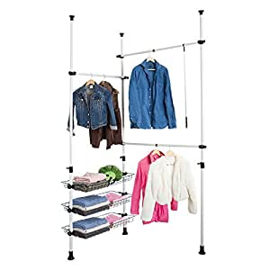sobuy telescopic wardrobe organiser hanging rail. Black Bedroom Furniture Sets. Home Design Ideas
