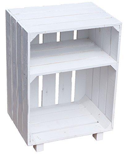 Weiß Holz Breite Beistelltisch (Nachttisch Absetlltisch weiß / natur / geflammt Maße ca 30x40x55cm Regalkiste Flaschenablage Weinregal Apfelkiste / Weinkiste (Weiß))
