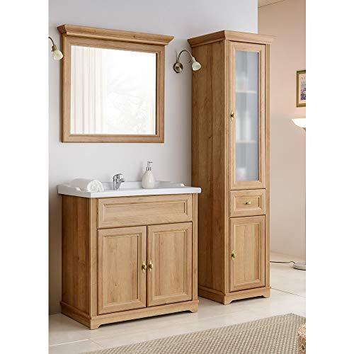 Lomadox Vintage Badmöbel Set 3-teilig ● Holzoptik Eiche Nb. im Landhausstil ● 80 cm Waschtischunterschrank inkl. Keramik Waschbecken ● Hochschrank mit 2 Türen und Schubkasten und Spiegel