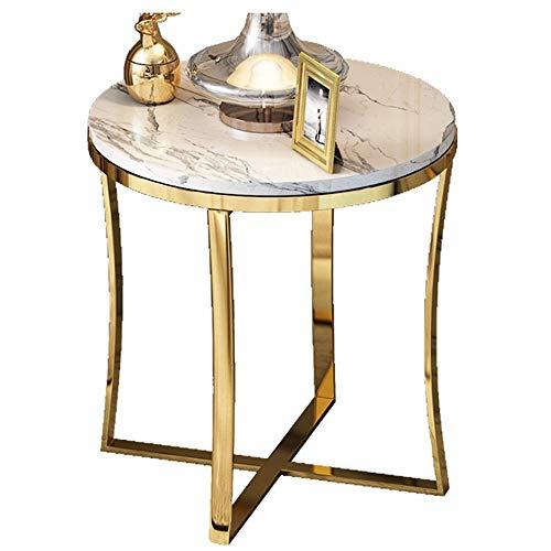 Table Basse Ronde/Table Basse de Salon, matériel en Bois Exquis, Meubles de décoration de Bureau de Maison de marbre de Salon, Blanc