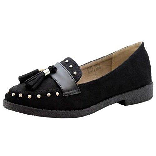 Saute Styles Dames Plat Glisser Sur Goujons La Frange Glands Flâneurs Bureau Pompes Chaussures Taille 36-41 Noir Suède Goujons Clouté