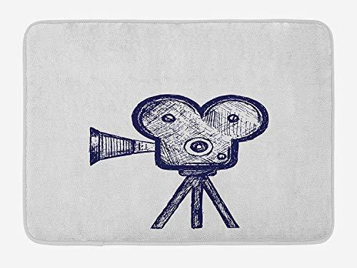ASKYE Movie Theater Bath Mat, Hand Drawn Sketch of a Video Projector in Blue Tones Cinema Symbol, Plush Bathroom Decor Mat with Non Slip Backing, 15.7X23.6 inch, Violet Blue Grey (Aqua-fitness-videos)