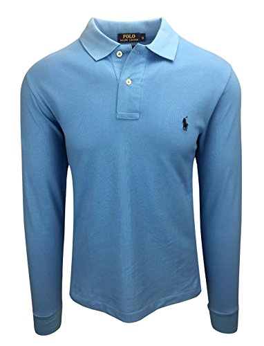 Ralph Lauren Polo Herren Langarm Small Pony Custom Fit S-M-L-XL-XXL Outlet, Größe:L, Farbe:Hellblau (Polo-pony-shirt)
