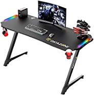Gaming Desk 140cm,Professional RGB Gaming Table, Carbon Fiber Waterproof Surface, Cup Holder, Headphone Hook a