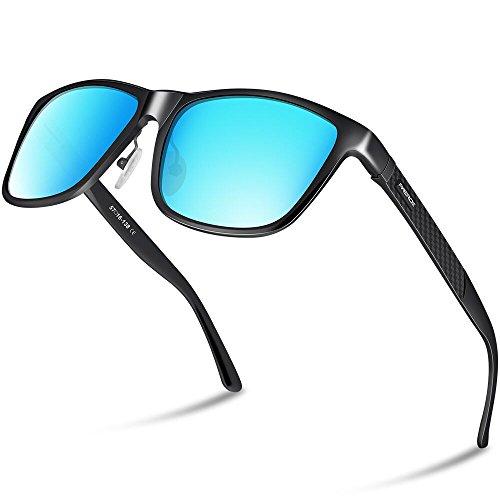 PAERDE Unisex Retro Al-Mg Metallrahmen polarisierte Sonnenbrille für Männer Frauen (Schwarzer Rahmen&Blaue Linse) KTBm70ii7h