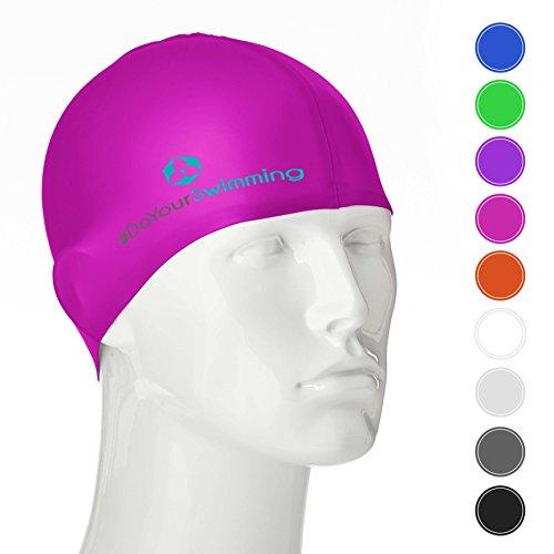 #DoYourSwimming Badekappe für Erwachsene & Jugendliche | Material : Silikon (100% wasserdicht)- elastische Badehaube/Bademütze - sehr guter Tragekomfort »Barney« pink