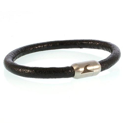 WAVEPIRATE® Echt Leder-Armband Sylt R Schwarz/Silber 21 cm Edelstahl-Verschluss in Geschenk-Box Männer Damen Herren -